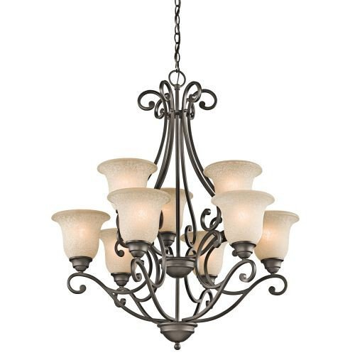 Kichler Lighting 43226OZ 9-Light Chandelier with White Scavo/Light Umber Glass, Olde Bronze Finish
