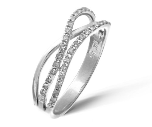 9ct White Gold 0.21ct Diamond Crossover Ring
