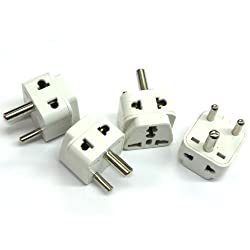 Tmvel 2 in 1 Grounded Universal Plug Adapter for India (Type D) - High Quality - CE Certified - RoHS Compliant - 4 Pack
