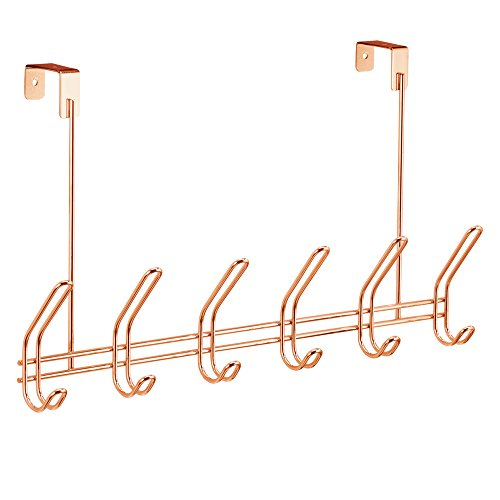 InterDesign Classico Over the Door 12-Hook Rack for Coats, Hats, Robes, Towels - Copper (Over Door Metal Rack compare prices)