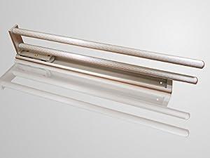 Ausziehbarer Handtuchhalter 2-armig drehbar 444 mm Aluoptik Handtuchstange Handtuchauszug