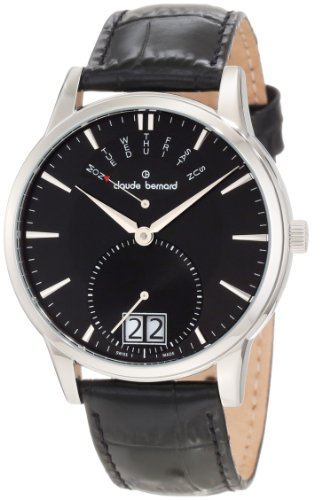 Claude Bernard Men's 34004 3 NIN Classic Gents Black Leather Big Day Date Watch