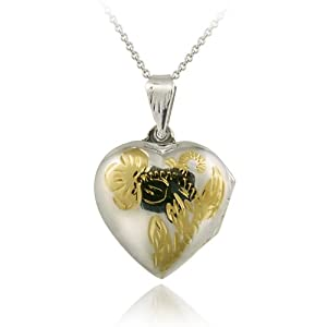 Sterling Silver Two-Tone Engraved Flower Heart Locket Pendant
