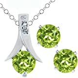 "3.00 Ct Round Green Peridot .925 Silver Pendant and Earrings Set 18"" Chain"
