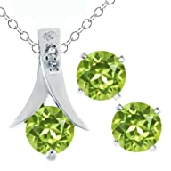 3.00 Ct Round Green Peridot .925 Silver Pendant and Earrings Set 18″ Chain