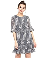 Femella Women's Grey Stripe Printed Dress( DS-43947-1014-GRY-S)