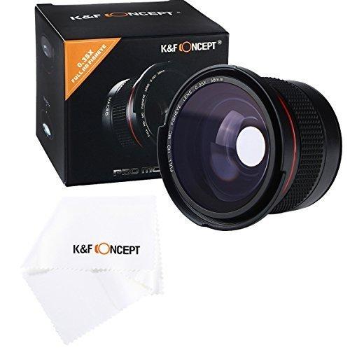 58MM 0.35x Professionale HD Fisheye Obiettivo, K&F Concept grandangolare W / Macro Close Up Lente + obiettivo panno di pulizia per Canon EOS Rebel T3 (EOS 1100D), EOS Rebel T3i (EOS 600D), EOS 60D,Nikon COOLPIX P500, D7000, D3100, D3 S, D300S, D5000, D3000, D3x, D3
