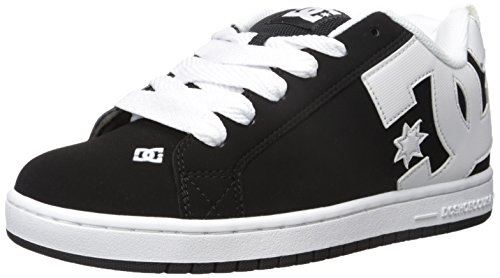 DC Men's Court Graffik Skate Shoe, Black/White/Black, 13