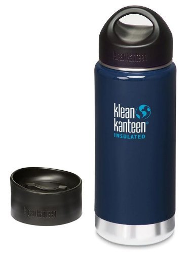 Klean Kanteen 16 Oz. Wide Mouth Insulated Bottle With 2 Caps (Stainless Loop Cap And Cafe Cap)