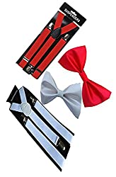 Sunshopping unisex red and white stretchable suspenders with bow combo (r-235) (Multi coloured)