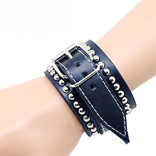 Black Leather Rivet Metal Buckle Adjustable Mens Cool Wrist Band Jewelry