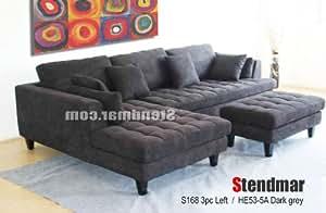 Amazoncom 3pc euro design dark gray microfiber sectional for Gray sectional sofa amazon