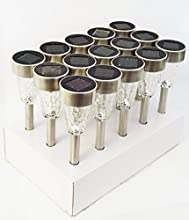 15 Pack Glass and Stainless Steel Solar Garden Lights