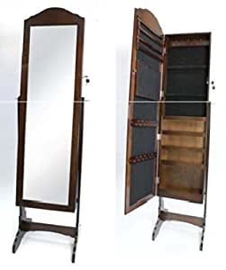 Full length cheval mirror dressing cabinet with trinket for Full length mirror with shelf