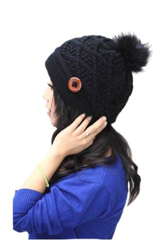 Cool2Day Womens Winter Lovely Fuzzy Ball Knit Beanie Hat Cap (Model: Yf010338) (Black)