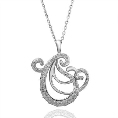 Virgin Shine Silver-Plate Graceful Fashion Shape Pendant With Rhinestone Necklace