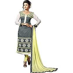 Sky Up Women's Chanderi Embroidered Green Salwar Suit