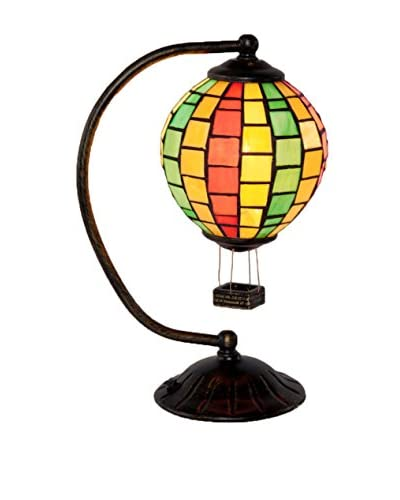 River Of Goods Stained Glass Hot Air Balloon Accent Lamp, Multi