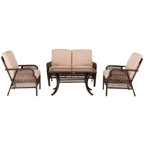 Seaton Indoor/ Outdoor Conservatory Furniture Set includes Table/ Sofa/ 2 Chairs (4 Pieces)