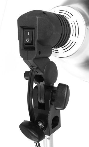 Light Bulb Socket with Switch & Umbrella Mount for CFL photography and video - mounts to a light stand