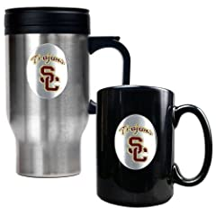Buy Great American Products USC Trojans Stainless Steel Travel Mug & Ceramic Mug Set by Great American Products