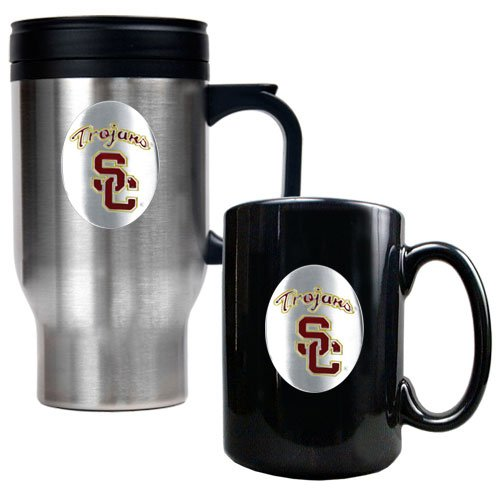 NCAA USC Trojans Stainless Steel Travel Mug & Ceramic Mug Set