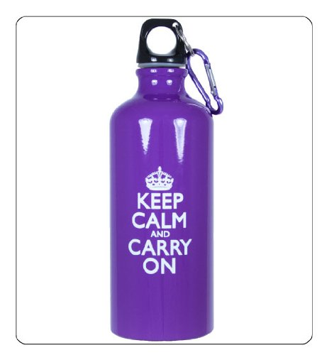 Keep Calm and Carry On Aluminum Sports Water Bottle for Drinking - Purple