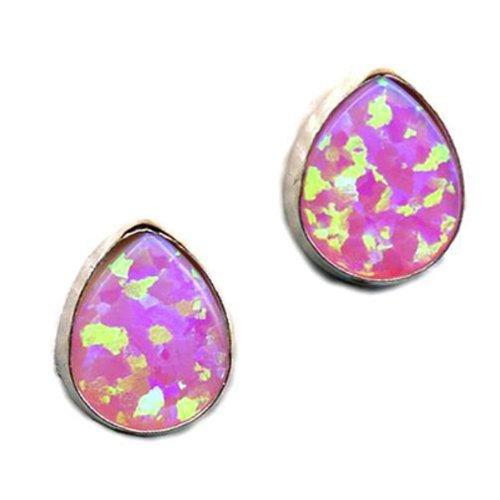 Teardrop Opal Earrings Fire Sparkly Pink Opal Sterling Silver, Post Closure