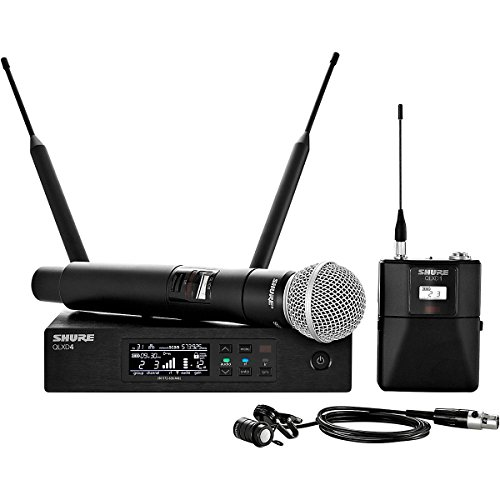 Shure Qlx-D Digital Combo Wireless System W/Wl185 Lavalier And Sm58 Microphones J50 Band, 572-636 Mhz