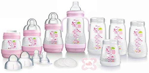 MAM - Set di biberon autosterilizzanti con sistema anti-coliche, 2 x 130 ml, 2 x 160 ml, 4 x 260 ml, 4 tettarelle a flusso lento, 4 tappi, 1 beccuccio morbido, 1 maniglia, 1 succhietto, Rosa (Pink)