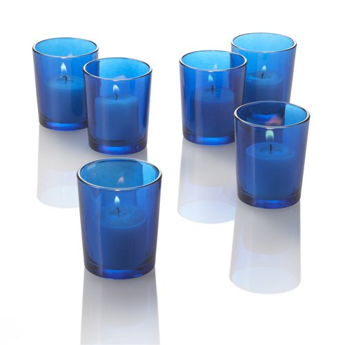 Set Of 12 Colored Glass Votive Candle Holders Blue Ebay