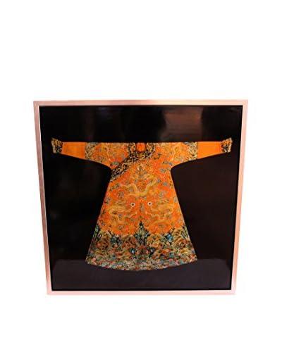 Asian Loft Kimono In Frame, Black/Orange/Gold