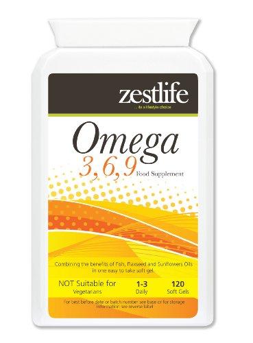 Omega 3,6,9 1000mg - 120 Capsule acidi grassi EPA e DHA e vitale per la pelle , sistema circolatorio , del cervello , l'artrite , l'alta pressione sanguigna , riduce il colesterolo