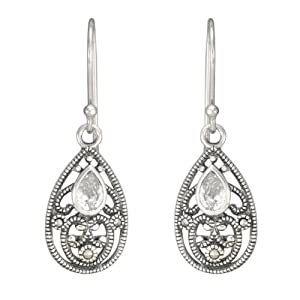 Sterling Silver Marcasite Filigree Faceted Clear Glass Drop Earrings
