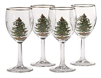 #!Cheap Spode Christmas Tree 13-Ounce Wine Goblets with Gold Rims, Set of 4
