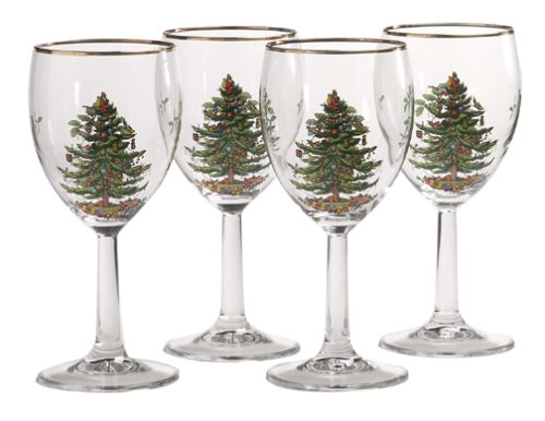 Spode Christmas Tree 13-ounce Wine Goblets with Gold Rims (Set of 4)
