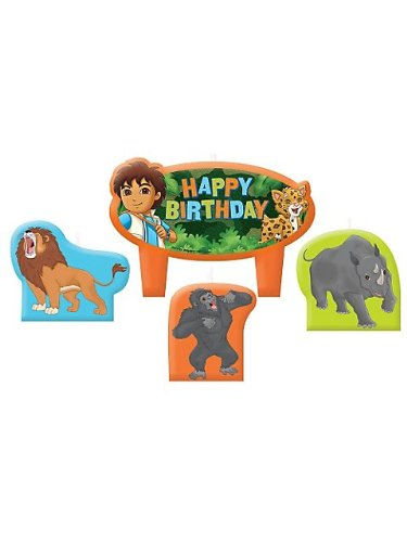 """Amscan Charming Diego's Biggest Rescue Character Themed Candle Set, Orange/Blue/Yellow, 1.25"""" - 1"""