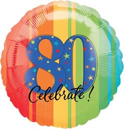 "Anagram International Aged to Perfection a Year to Celebrate 80 Balloon, 18"", Multicolor"