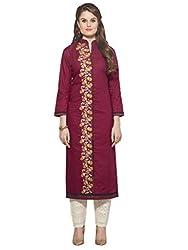 Sheknows Women's cotton kurti(PTHKR4816MON_4_XL_Purple Embroidered Kurti)
