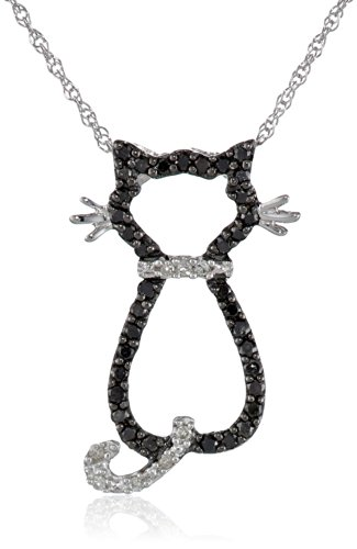 Xpy 14K White Gold Black And White Diamond Cat Pendant (.18 Cttw, I-J Color, I2-I3 Clarity), 18""