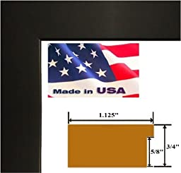 22x35 Custom Black 1.125 inch Picture Poster Photo Frame Solid Wood #CTM1125
