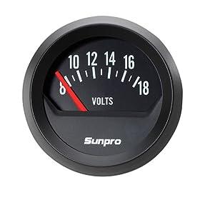 Sunpro CP8215 StyleLine Voltmeter - Black Dial