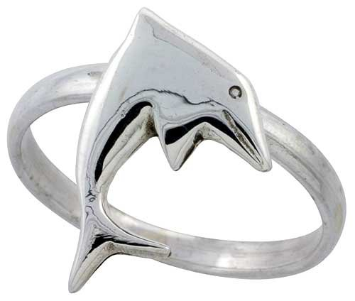 Sterling Silver Movable Shark Ring, size 9.5