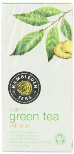 Organic Green Tea and Ginger Mix Teabags 25 g (Pack of 6, Total 150 g)