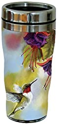 Tree-Free Greetings 77020 Ruby and Fuchsia Collectible Art Sip N Go Travel Tumbler, 16-Ounce, Stainless Steel, Multicolored