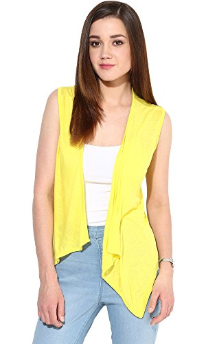 Trend18 Viscose Yellow Sleeveless Waterfall shrug - Yellow Small  available at amazon for Rs.199