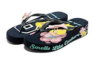 MonicKruh Shoes Womens Wedge High Heels Beautiful Flowers Beach Flip Flop Wisp Sandals