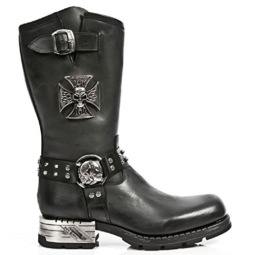 NEWROCK New Rock M.MR030 -S1 Strap teschio di metallo gotico Stivali Moto pelle46