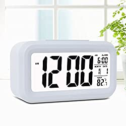 Alarm Clock,Noza Tec LED Desk Clock Slim Digital Alarm Clock Large Display Travel Alarm Clock (Battery Operated, Temperature Display, Snooze Function, Smart Back-light) - White