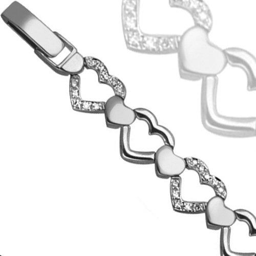 Jewelco London 9 Carat White Gold 42pts Diamond Bracelet